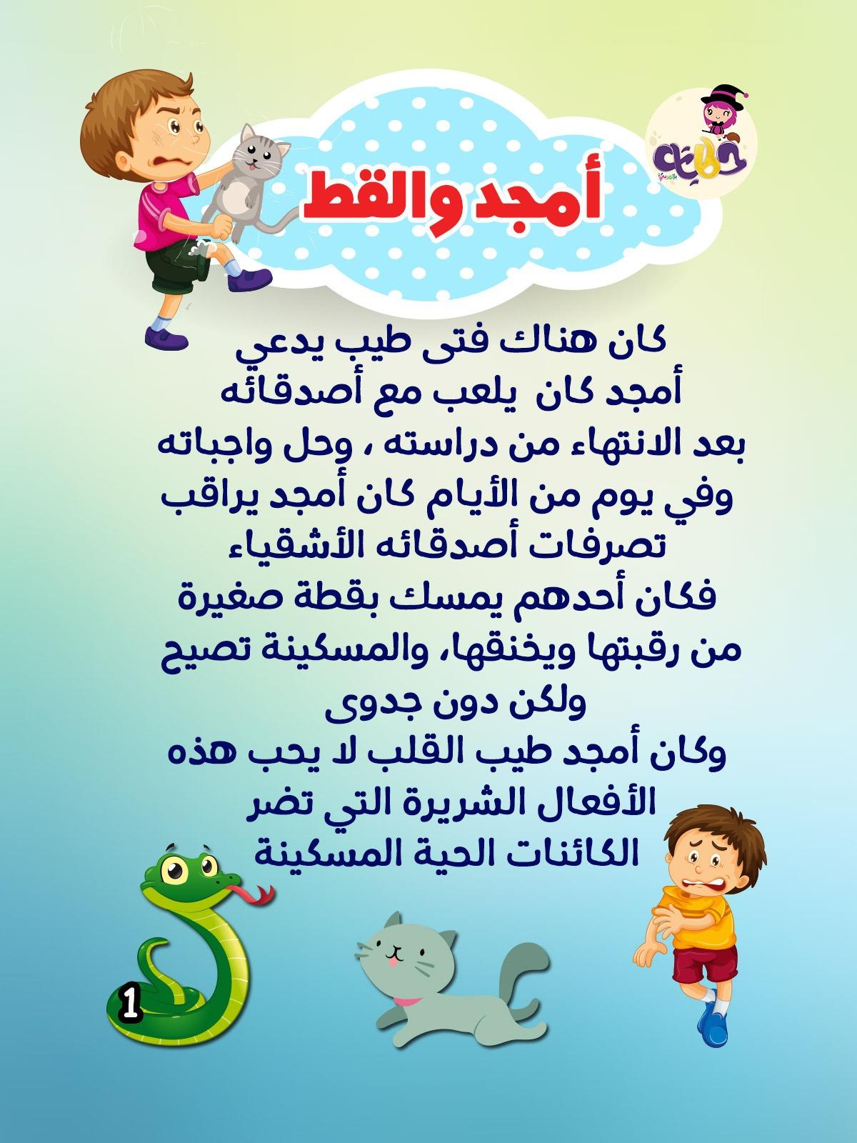 أمجد والقط قصة قصيرة مصورة عن الرفق بالحيوان بتطبيق حكايات بالعربي