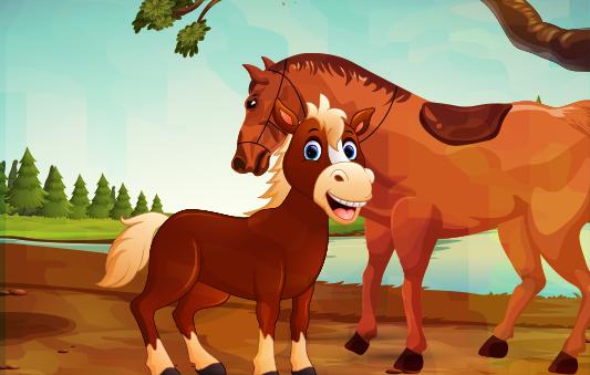 الحصان الصغير يتعلم من قصص حيوانات الغابة بتطبيق حكايات بالعربي