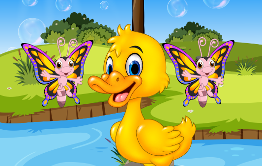 قصة البطة والفراشات قصص تربوية هادفة للاطفال