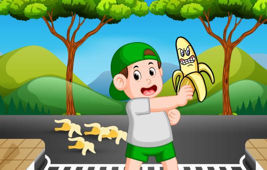قصص سلوكية للاطفال مصورة :: قصة قشرة موز