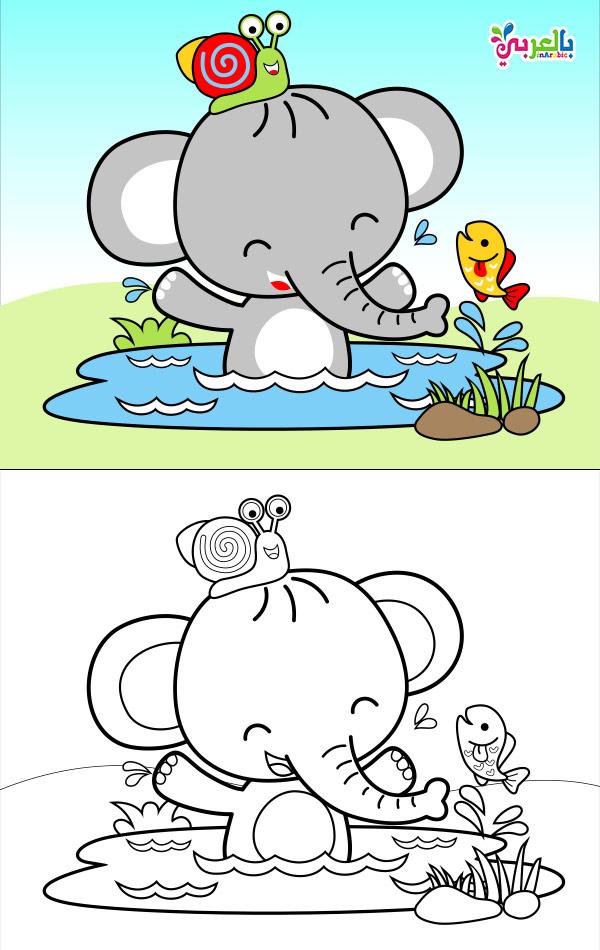 صورة فيل للطباعة والتلوين