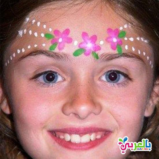 رسم زهور على الوجه - رسم ورد على الوجه للاطفال