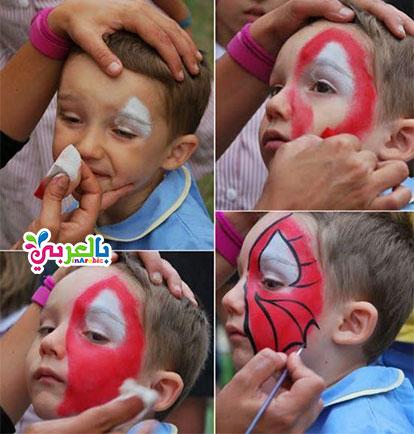خطوات رسم سبايدر مان على الوجه - رسم الرجل العنكبوت
