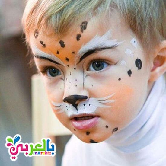 رسم تايجر علىالوجه - رسم فهد على الوجه سهل للاطفال