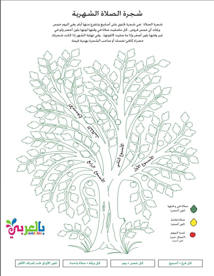 شجرة الصلاة الأسبوعية والشهرية للاطفال