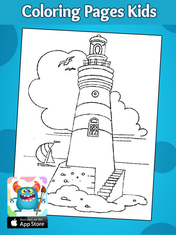 تلوين فنارة -رسومات اطفال عن فصل الصيف