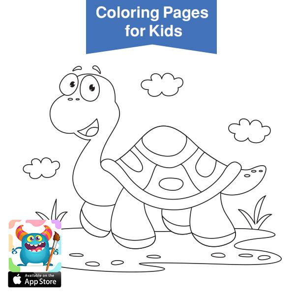 صور حيوانات للتلوين - سلحفاة - cute baby animals coloring pages printable