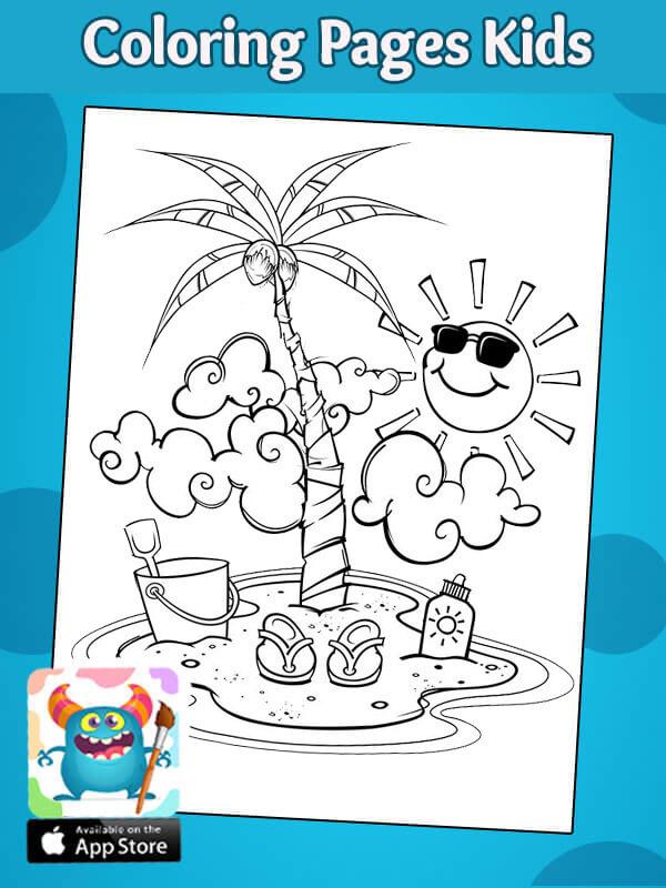 رسومات سهلة للتلوين عن الصيف