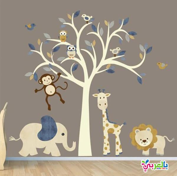 اشكال طبعات على الجدران - ورق حائط لغرف الاطفال 3d