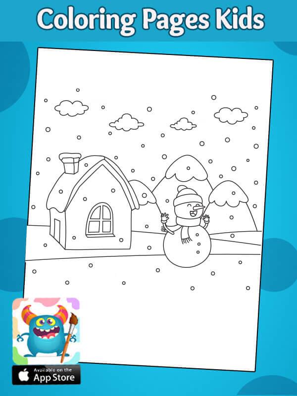 رسومات بسيطة عن فصل الشتاء للتلوين