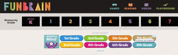 Funbrain - أفضل مواقع تعليمية للأطفال