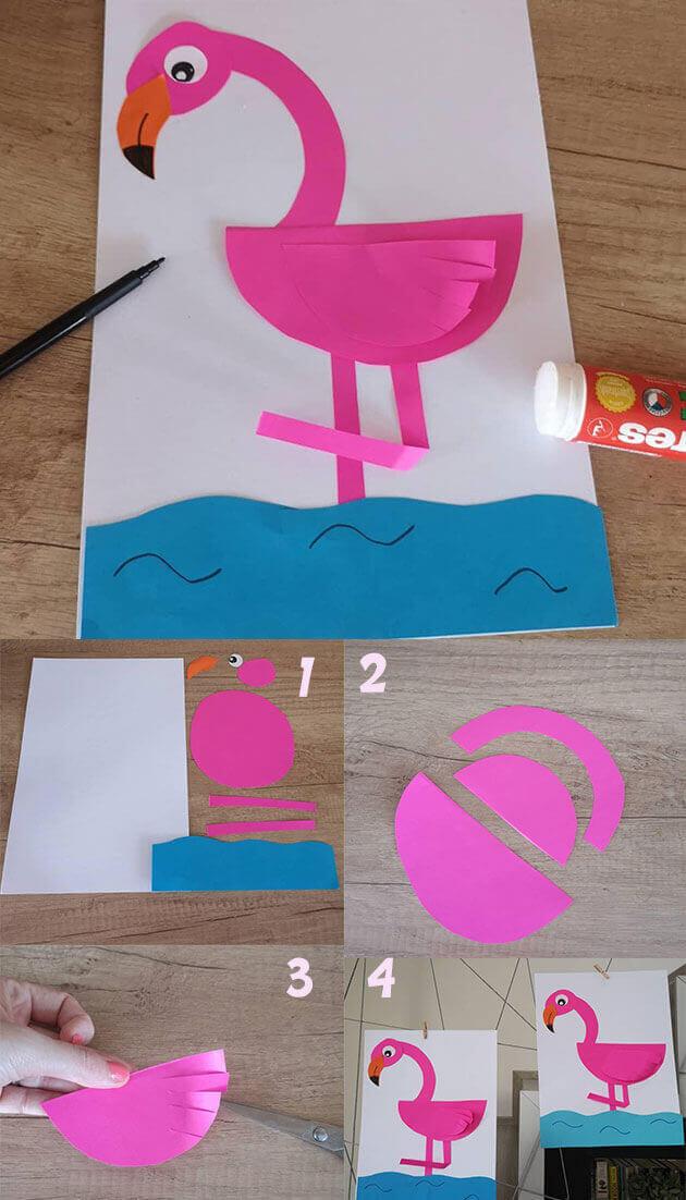 10 اعمال يدوية للصيف ممتعة للاطفال : صنع فلامنجو من الورق summer crafts for preschoolers