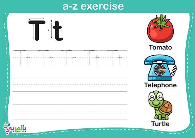التدريب على كتابة حروف اللغة الانجليزية لاطفال الروضة