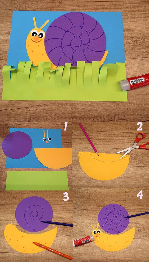 اعمال ورقية في فصل الصيف : عمل حلزون بالورق للاطفال