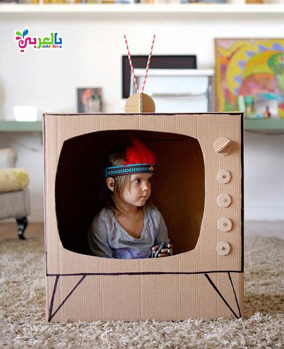 اشكال بورق الكرتون - صنع تلفاز بالكرتون - cardboard easy paper crafts for kids