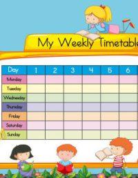 نماذج جدول حصص مدرسي جاهز للطباعة - School Schedule Timetable