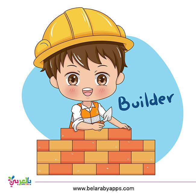 بطاقات وسائل تعليمية عن المهن باللغة الانجليزية - عامل البناء