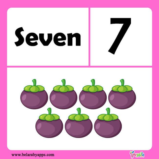 كروت تعليمية لتعليم الأطفال الأرقام باللغة الإنجليزية