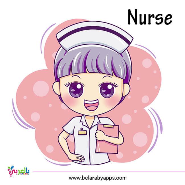 اسماء الوظائف بالانجليزي للأطفال - ممرضة