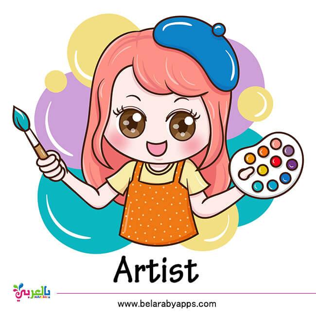 بطاقات تعليم المهن بالانجليزي للأطفال - رسام