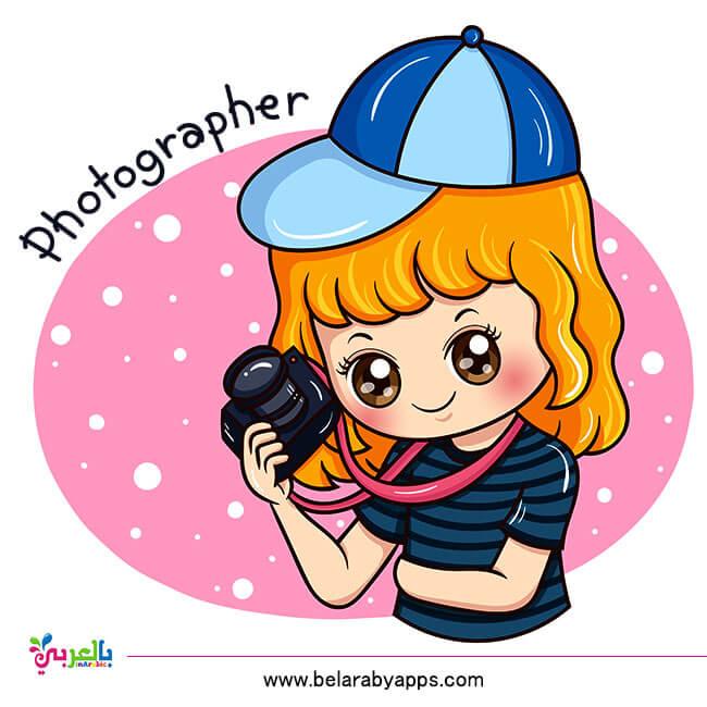 بطاقات تعليم المهن بالإنجليزي للأطفال - مهنة المصور