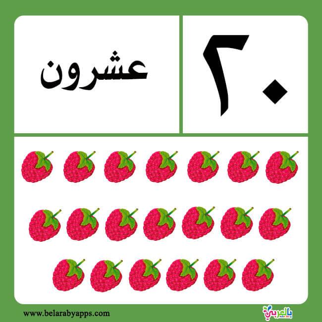 بطاقات الارقام بالحروف للاطفال جاهزة للطباعة