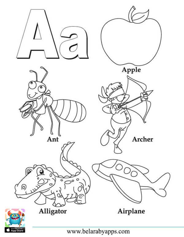اوراق عمل تعليم الحروف الانجليزية مع الكلمات للتلوين و الطباعة