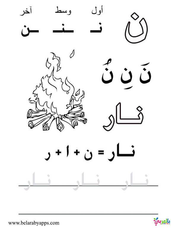 أوراق عمل تدريب على كتابة الحروف العربية