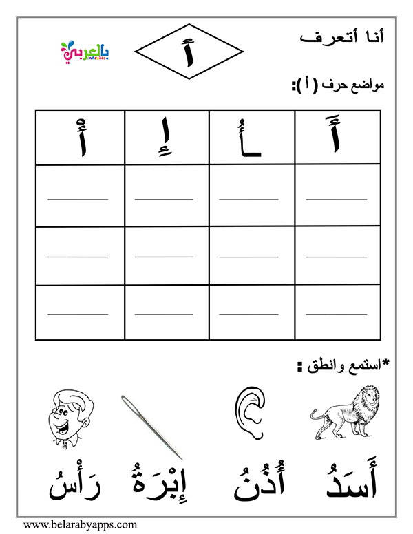 اوراق عمل كتابة الحروف الهجائية بالحركات والسكون للاطفال Arabic Alphabet story for letter Alif