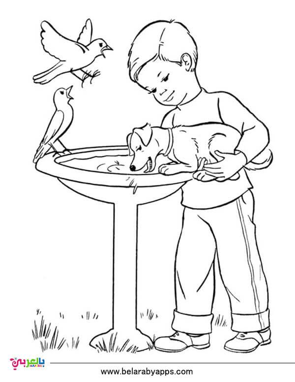 رسومات للتلوين تعلم الطفل الرفق بالحيوان