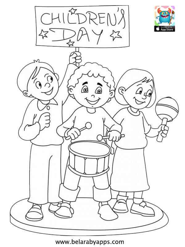 Happy Children S Day Coloring Pages Free Printable Belarabyapps