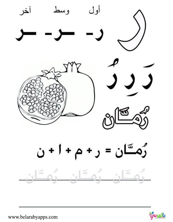اوراق عمل لتعليم كتابة الحروف العربية للاطفال للطباعة