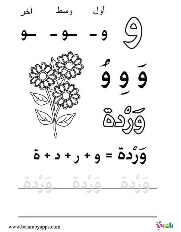 اوراق عمل الحروف الابجدية العربية بالتشكيل