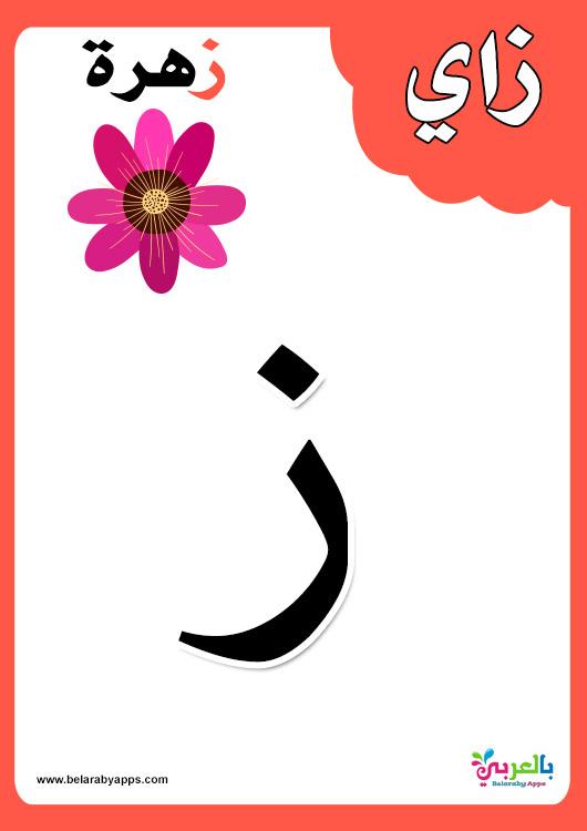 بطاقات حروف الهجاء للطباعة بالالوان