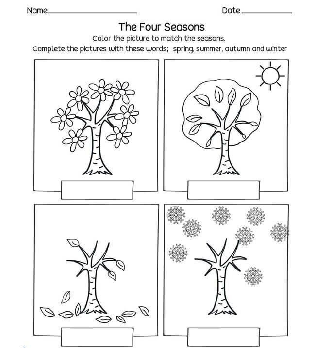 coloring page four seasons - Free seasons worksheets for kindergarten