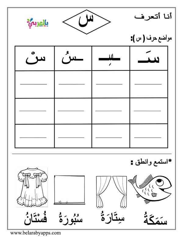 اوراق عمل تدريب الاطفال على كتابة الحروف الهجائية بالحركات - arabic letter beginning middle end