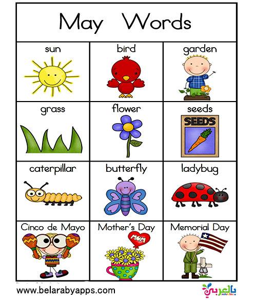 بطاقات تعليمية للغة الانجليزية للأطفال