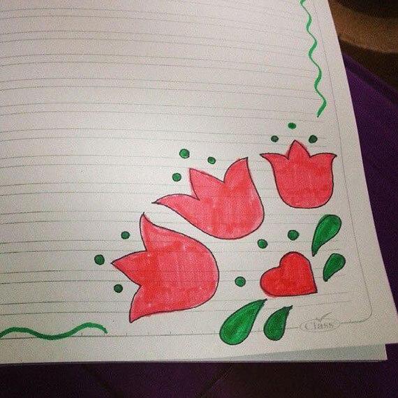 رسومات جميلة تزيين الدفاتر المدرسية للبنات - من الداخل بالالوان بسيطة