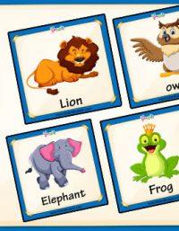 بطاقات أسماء الحيوانات بالإنجليزية للأطفال pdf
