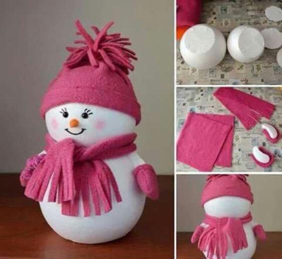 عمل رجل الثلج بالجوارب - افكار كرافت لصنع رجل الثلج