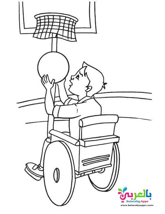 رسومات تحدي الاعاقة للاطفال - طفل معاق يمارس الرياضة