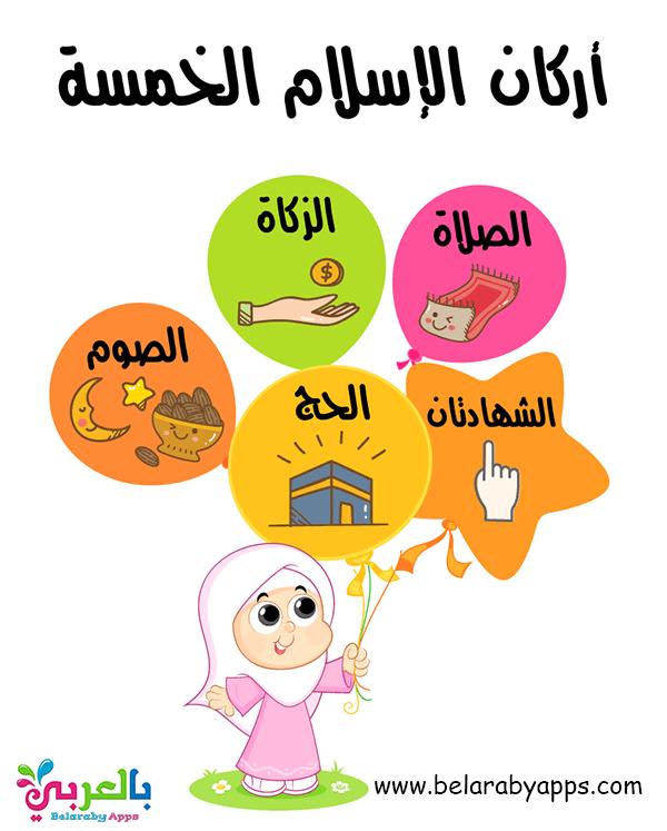 تعليم أركان الإسلام الخمسة للأطفال بالصور - لوحة عن اركان الاسلام للاطفال