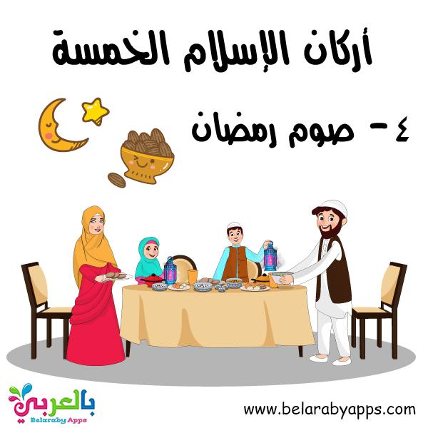 بطاقة صو رمضان -تعليم أركان الإسلام الخمسة للأطفال بالصور