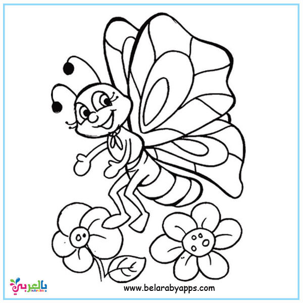 صور فراشات وزهور للتلوين - رسومات فراشات للتلوين للأطفال