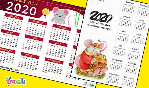 بالصور تصميم التقويم الميلادي 2020 -تحميل تقويم 2020 PDF