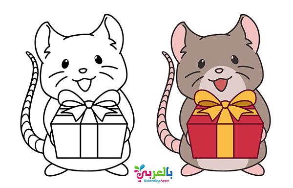 رسومات كرتونية جميلة للسنة الجديدة 2020 للتلوين Cartoon New Year Coloring Pages
