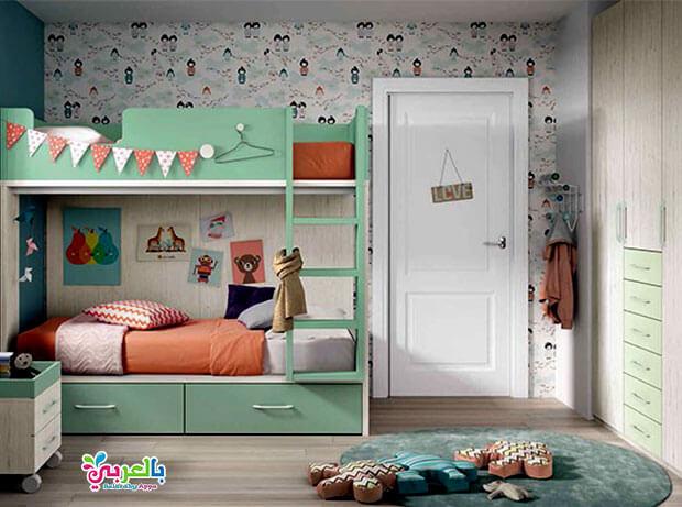 غرف نوم اطفال بسرير بدورين