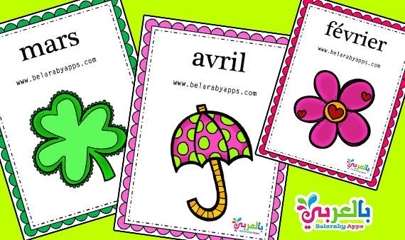 بطاقات شهور السنة الميلادية بالفرنسية pdf - وسائل تعليمية