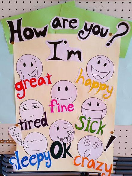 لوحة المشاعر باللغة الإنجليزية - افكار لوحات مدرسية للغة الانجليزية للاطفال