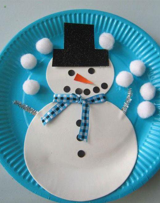 فكرة عمل رجل الثلج بالاطباق الورق - افكار كرافت لصنع رجل الثلج
